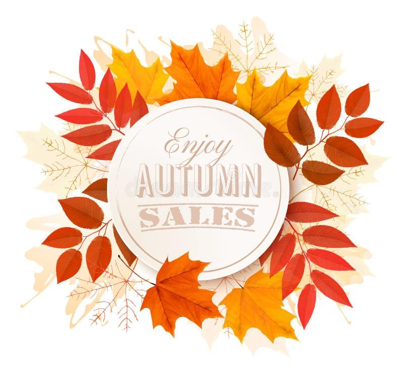 Bandera del otoño Disfrute de las ventas ilustración del vector