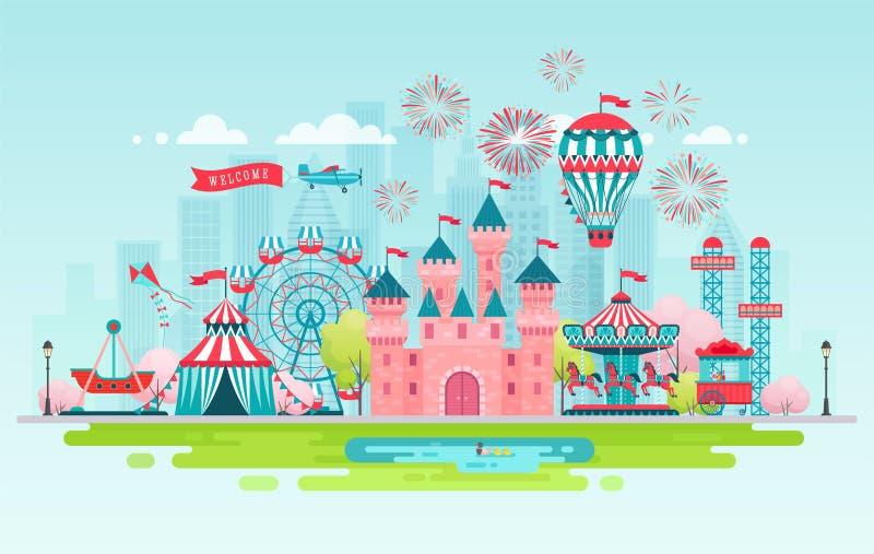 Bandera del paisaje del parque de atracciones ilustración del vector