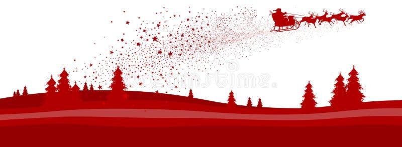 Bandera del panorama de la estación de la Navidad con volar Papá Noel y trineo del reno - Vector el ejemplo stock de ilustración