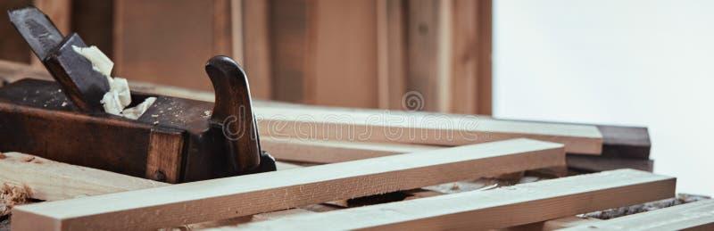 Bandera del panorama de un taller de la carpintería imagen de archivo libre de regalías