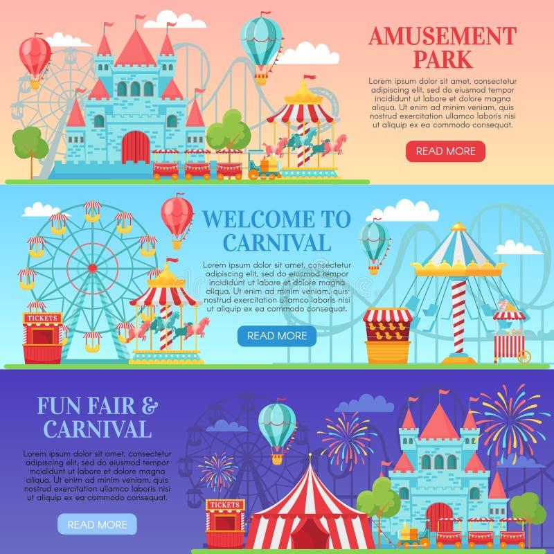 Bandera del parque de atracciones Atracciones del festival, niños carrusel y vector de diversión del fondo de las banderas de la  ilustración del vector