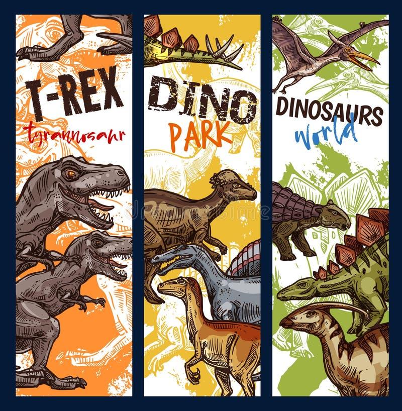 Bandera del parque del dinosaurio con bosquejo animal jurásico libre illustration