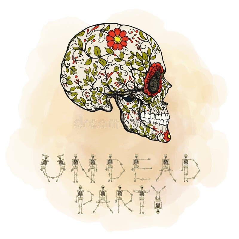 Bandera del partido de Andead con el cráneo del azúcar El símbolo tradicional ilustración del vector