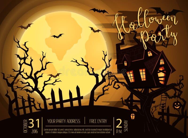 Bandera del partido de Halloween con el castillo fantasmagórico stock de ilustración
