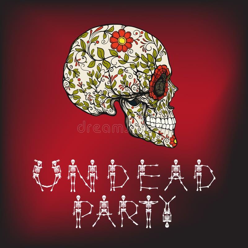 Bandera del partido de los Undead con el cráneo del azúcar El símbolo tradicional del día de los muertos stock de ilustración