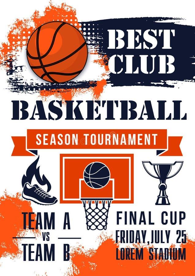 Bandera del partido del torneo del juego de baloncesto libre illustration