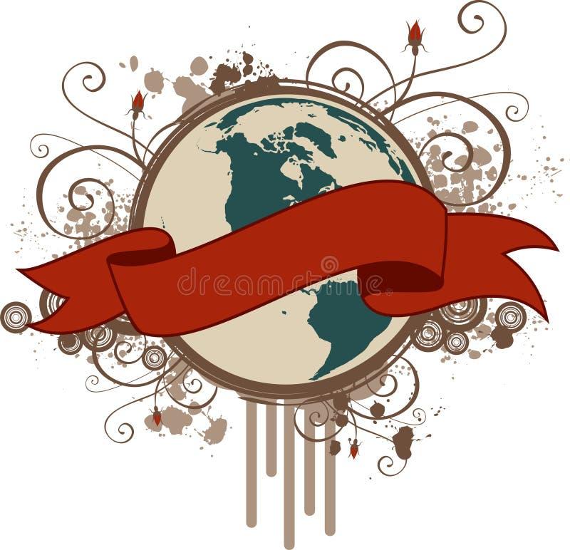 Bandera del planeta de Grunge stock de ilustración