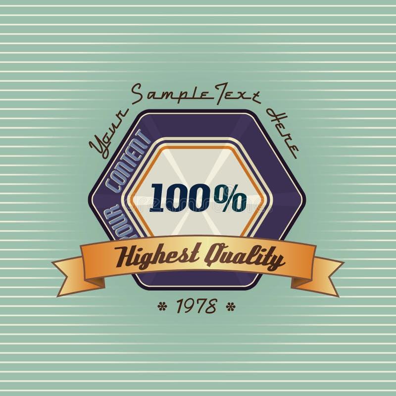 Bandera del polígono del vintage con la cinta de oro ilustración del vector