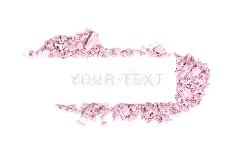 Bandera del polvo del maquillaje con el texto aislado en el fondo blanco foto de archivo