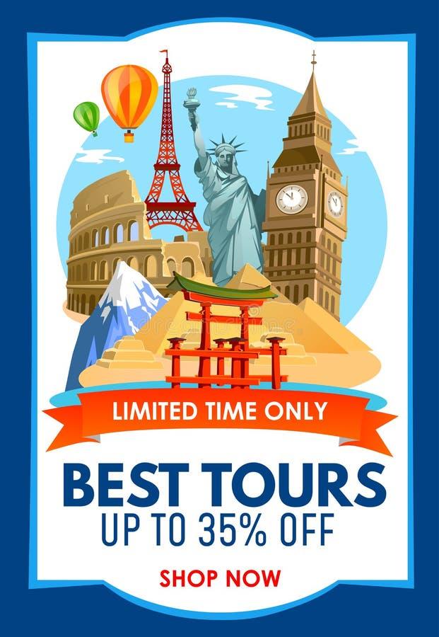 Bandera del promo de la agencia de viajes con los descuentos para los viajes Illu del vector libre illustration