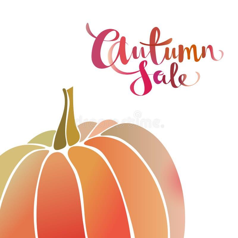 Bandera del promo de la venta del otoño con la calabaza Fondo del diseño del efecto de la acuarela de la pendiente stock de ilustración