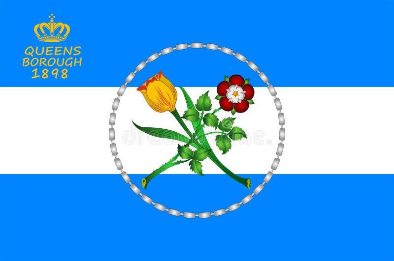 Bandera del Queens en Nueva York, los E.E.U.U. stock de ilustración