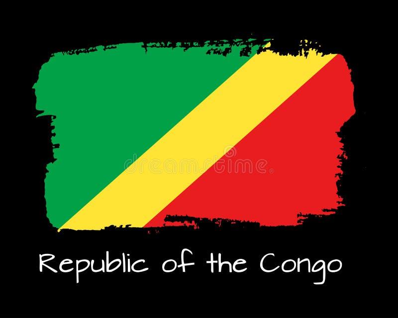 Bandera del República del Congo del drenaje de la mano ilustración del vector