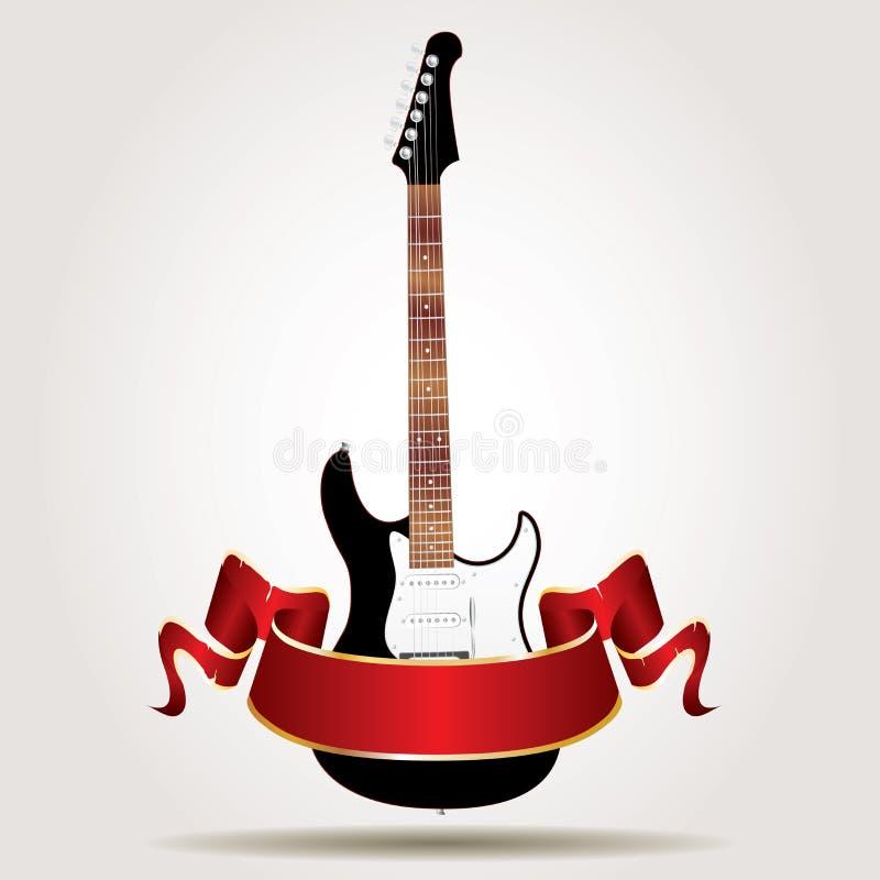 Bandera del rojo de la guitarra stock de ilustración