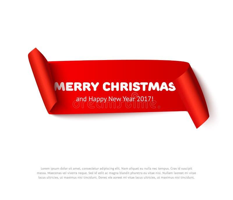 Bandera del rollo del papel de Feliz Navidad muy con la sombra realista Voluta roja de la cartulina del vector aislada en el fond stock de ilustración