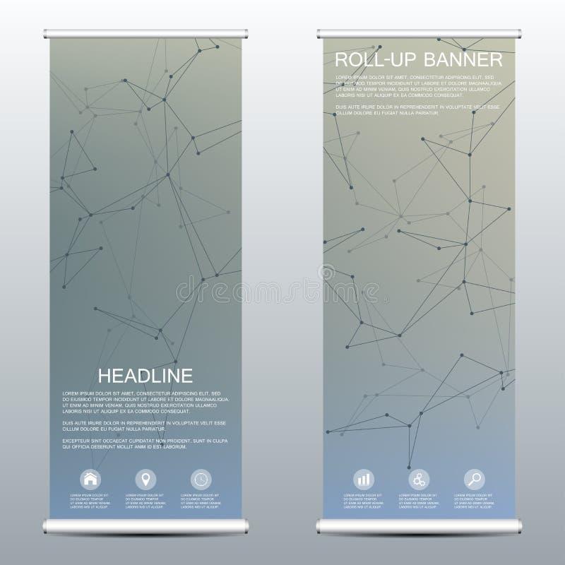 Bandera del rollo-para arriba para la presentación y la publicación Plantillas de la medicina, de la ciencia, de la tecnología y  stock de ilustración