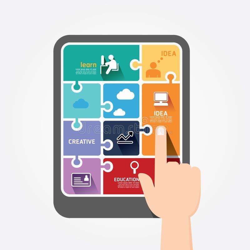 Bandera del rompecabezas de la plantilla de la tableta del empuje del finger de Infographic. stock de ilustración