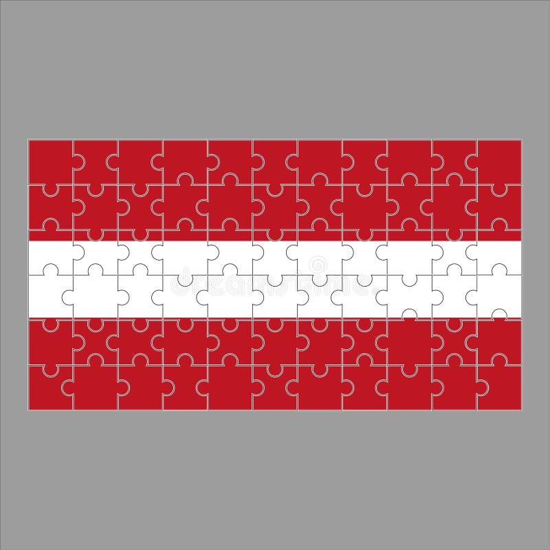 Bandera del rompecabezas de Letonia en fondo gris stock de ilustración