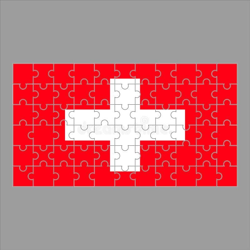 Bandera del rompecabezas de Suiza en fondo gris stock de ilustración
