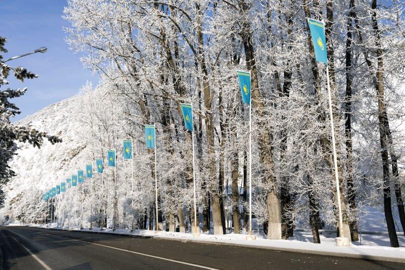 Bandera del ` s de Kazajistán imágenes de archivo libres de regalías