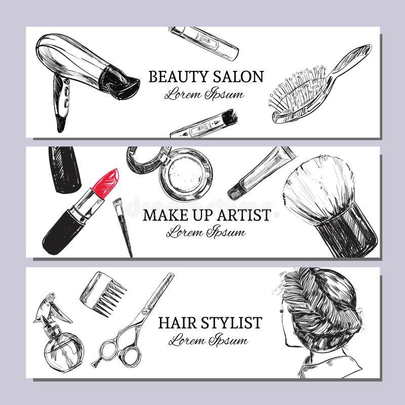 Bandera del salón de belleza con componga los objetos: lápiz labial, crema, cepillo Vector de la plantilla Objetos aislados dibuj libre illustration
