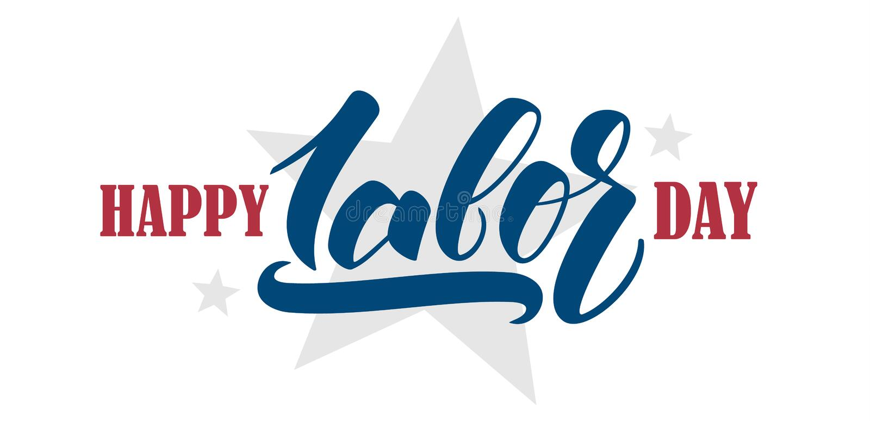 Bandera del saludo con la mano que pone letras a Día del Trabajo feliz ilustración del vector