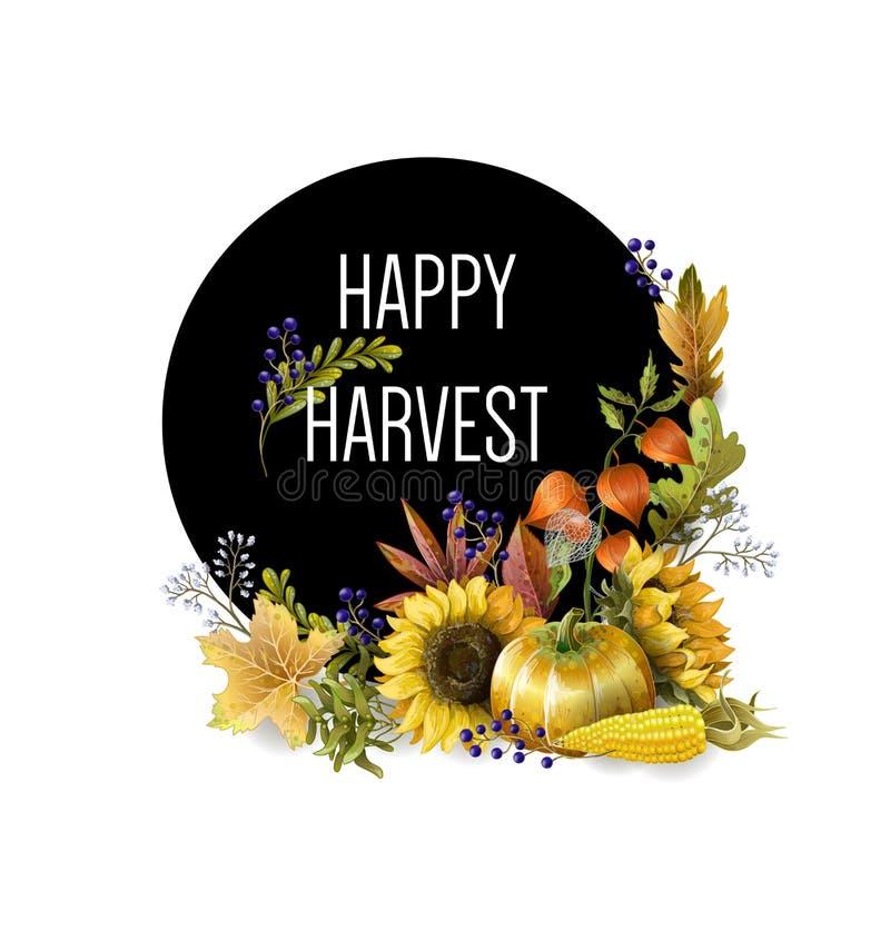 Bandera del saludo del día de fiesta de la cosecha con las hojas de otoño, las frutas, las bayas y las verduras Ilustración del v ilustración del vector
