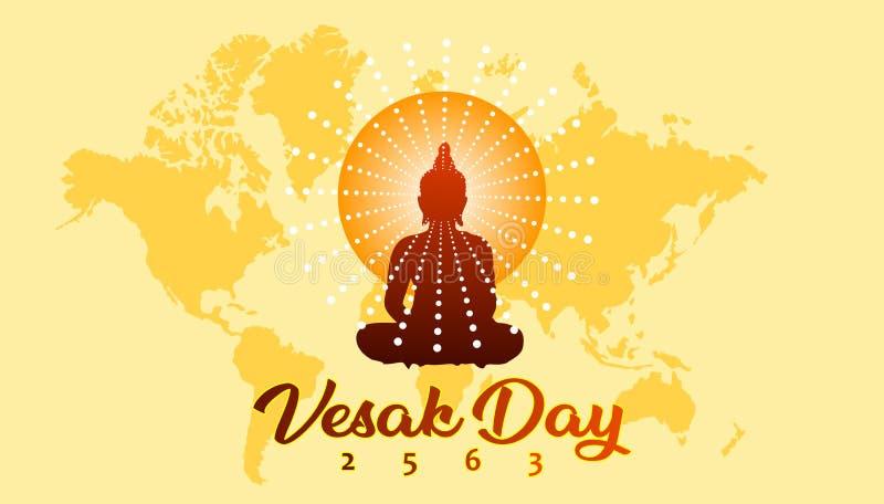 Bandera del saludo del día de Vesak con el fondo budista de la silueta y del mapa del mundo stock de ilustración