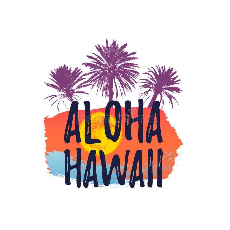 Bandera del saludo de HAWAII de la HAWAIANA Palmera tropical en fondo a pulso de la tinta stock de ilustración