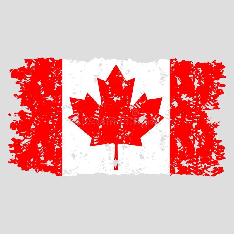 Bandera del sello de Canadá aislada Vector del grunge de la textura ilustración del vector