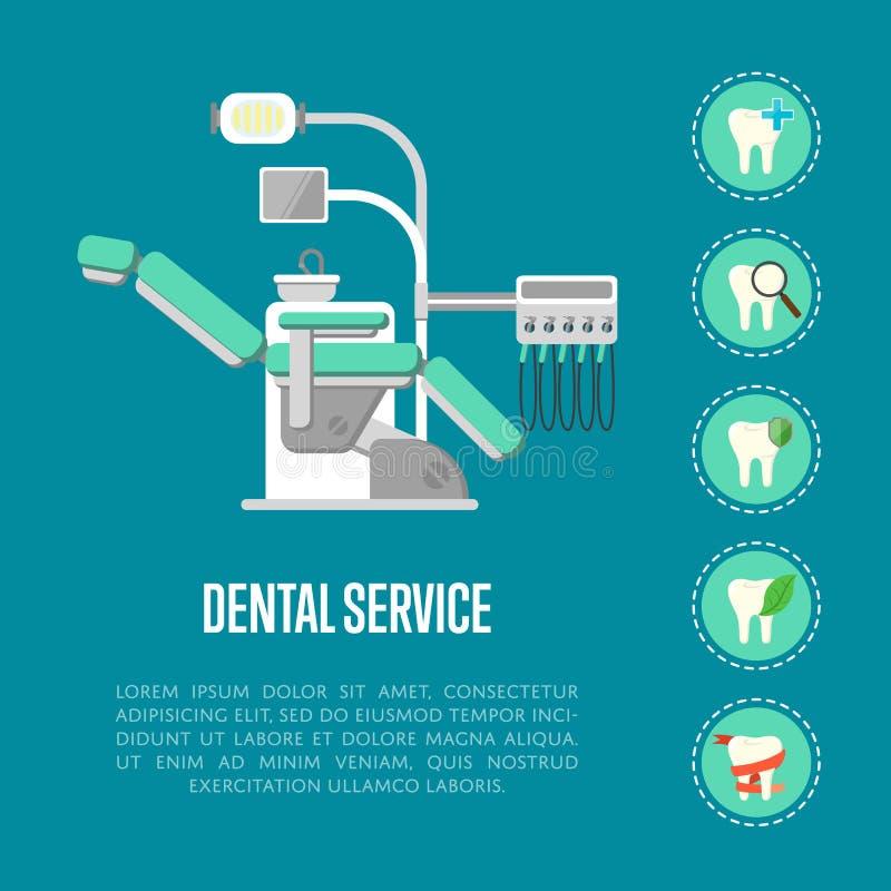Bandera del servicio dental con la silla dental ilustración del vector