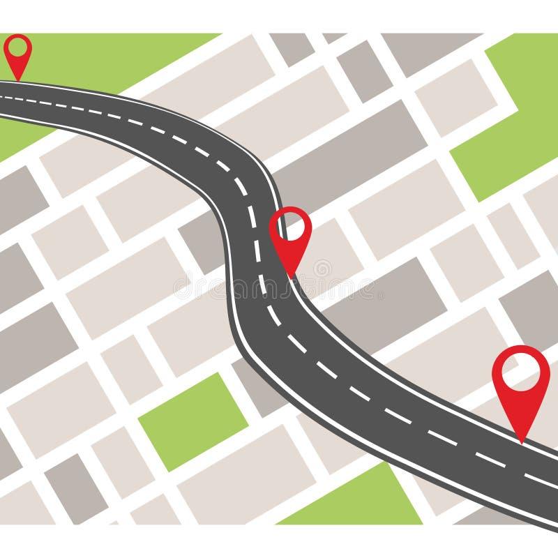 Bandera del sistema de navegación GPS Concepto de la navegación con el indicador del perno libre illustration