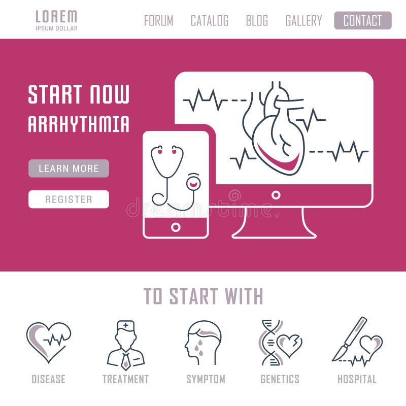 Bandera del sitio web y página del aterrizaje de la arritmia libre illustration