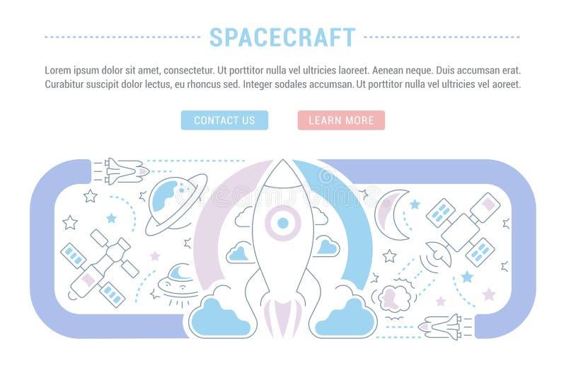 Bandera del sitio web y página del aterrizaje de la nave espacial libre illustration