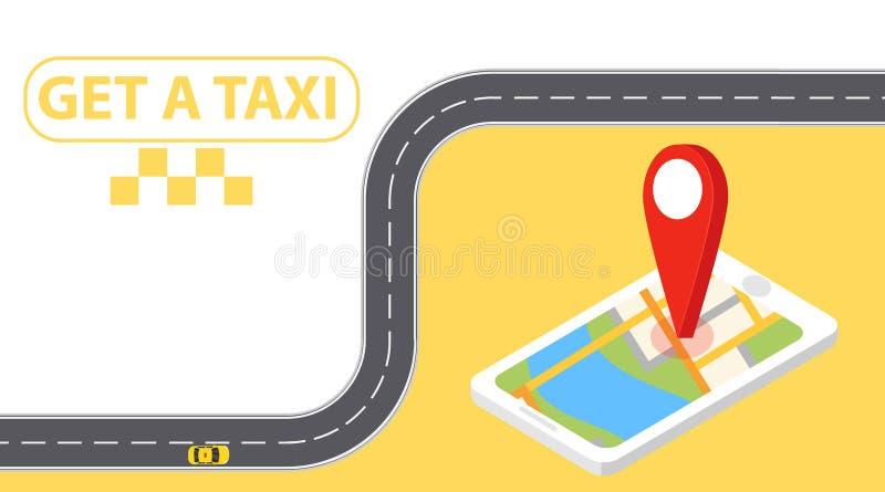 Bandera del taxi isométrica Ejemplo horizontal de la aplicación móvil del orden del servicio en línea del taxi Taxi en línea en m stock de ilustración