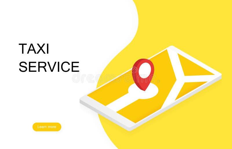Bandera del taxi Servicio en línea del taxi del orden de la aplicación móvil Ilustración moderna del vector stock de ilustración