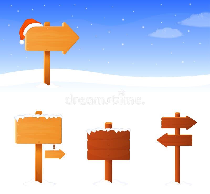 Bandera del tema del invierno con un tablero de madera de la muestra ilustración del vector