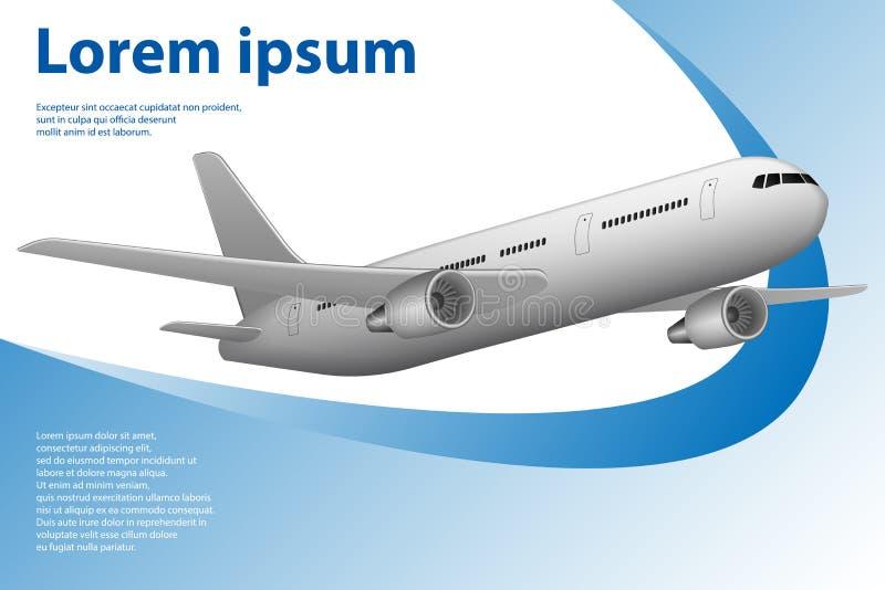 Bandera del tema del turismo con el aeroplano para la agencia de viajes Plantilla con el espacio del aeroplano y de la copia Grap ilustración del vector