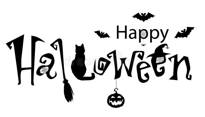 Bandera del texto del feliz Halloween, vector Ingenio monocromático del ejemplo ilustración del vector