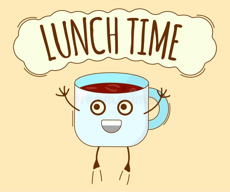 Bandera del tiempo del almuerzo, icono del té Carácter lindo, etiqueta del concepto Ilustraci?n del vector de la historieta libre illustration