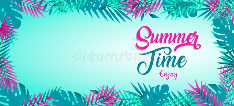Bandera del tiempo de verano de las plantas tropicales de la selva ilustración del vector