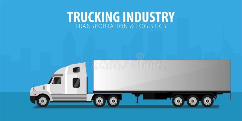 Bandera del transporte por camión, logístico y entrega Semi carro Ilustración del vector stock de ilustración