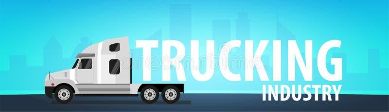Bandera del transporte por camión, logístico y entrega Semi carro Ilustración del vector libre illustration