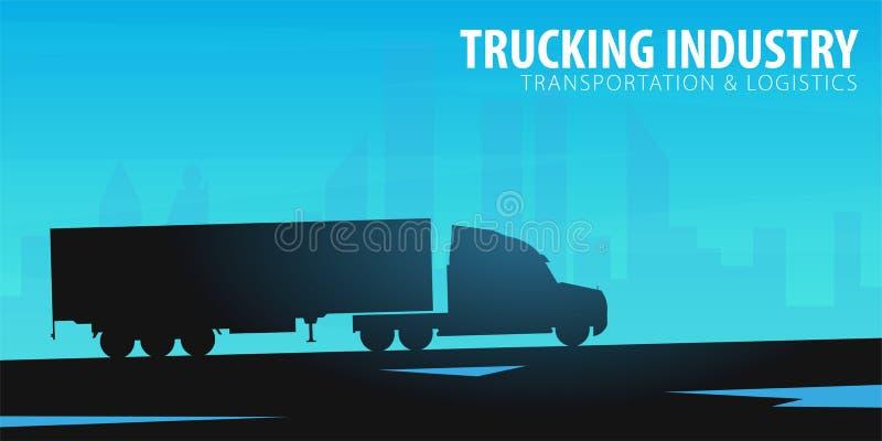 Bandera del transporte por camión, logístico y entrega Semi carro Ilustración del vector ilustración del vector