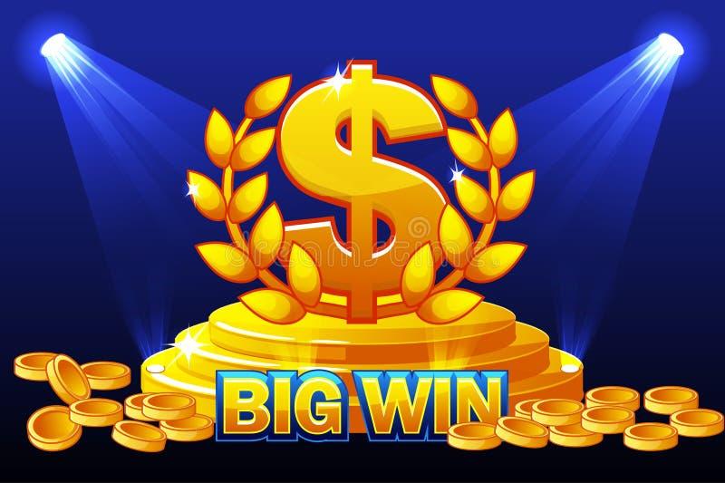 Bandera del TRIUNFO y premio GRANDES del DÓLAR de la muestra Monedas de oro de la pila Ejemplo del vector para el casino, las ran ilustración del vector