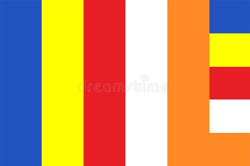 Bandera del vector del budismo Símbolo de la bandera de la religión de Buda ilustración del vector