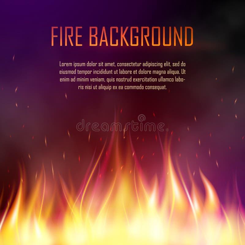 Bandera del vector con el fuego realista libre illustration