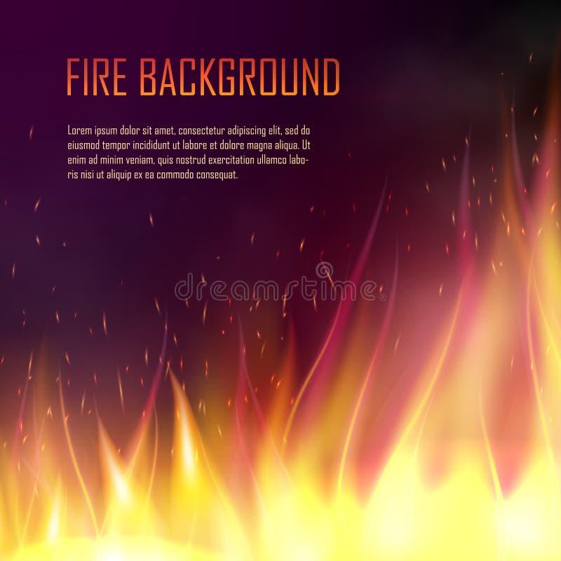 Bandera del vector con el fuego realista ilustración del vector
