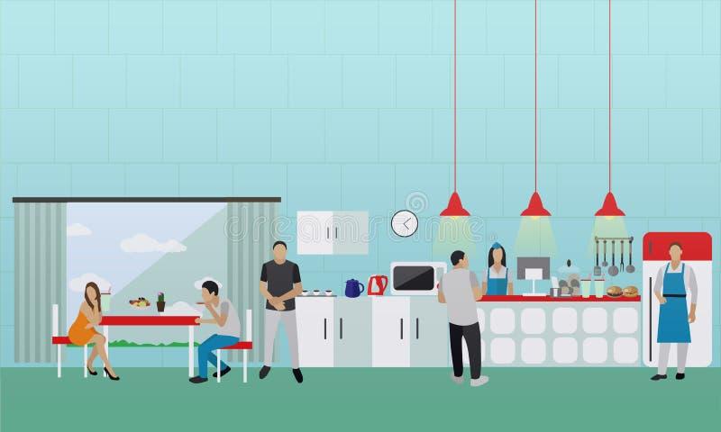Bandera del vector con el interior de la cocina Gente que almuerza en café de la oficina stock de ilustración