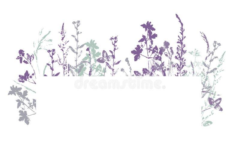 Bandera del vector con el sello de la tinta de hierbas imagen de archivo libre de regalías